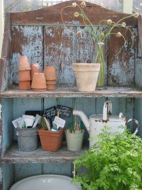 French shelves in the greenhouse