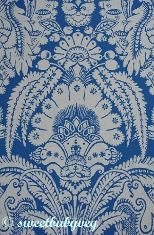 This amazing paper has inspired me to re-paint a dresser and paper the inside with this gorgeous blue and white pattern.