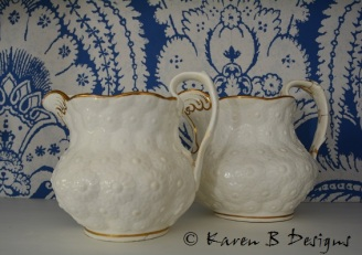 Embossed with a daisy pattern these charity shop find jugs have been pinned to mend a break on one handle. I love it that someone loved these enough to have them mended.