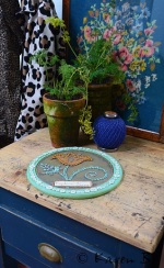 An old and worn butchers block is where I will place my trug of freshly picked vegetables from the Kitchen Garden. The decorative wall plaque reads-'Explore your Soul'