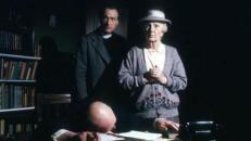 The late Joan Hickson as Jane Marple with Paul Eddington as the Vicar.