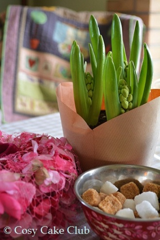 Spring bulbs and vintage petalled hats set the scene